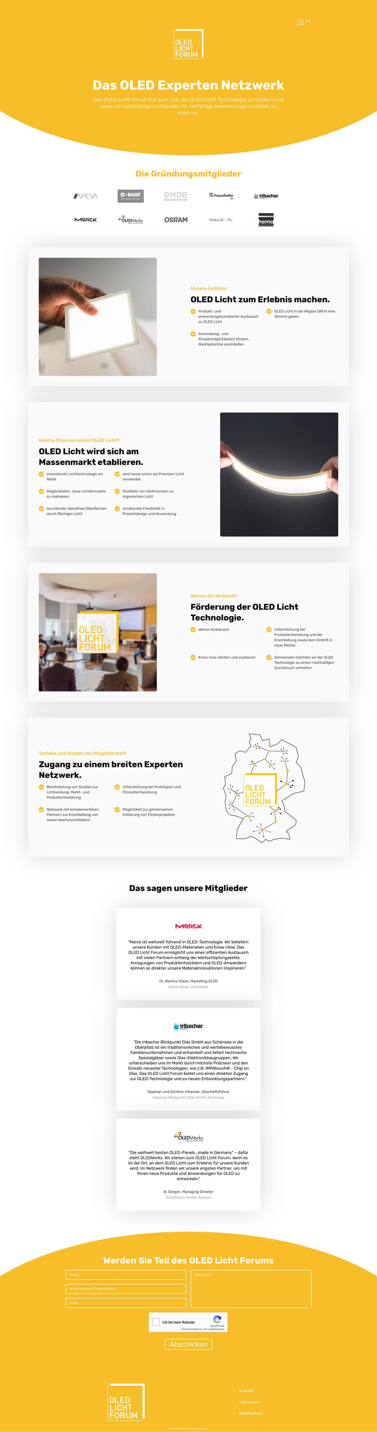 Webseite für das OLED Licht Forum, Bild zeigt die Webseite