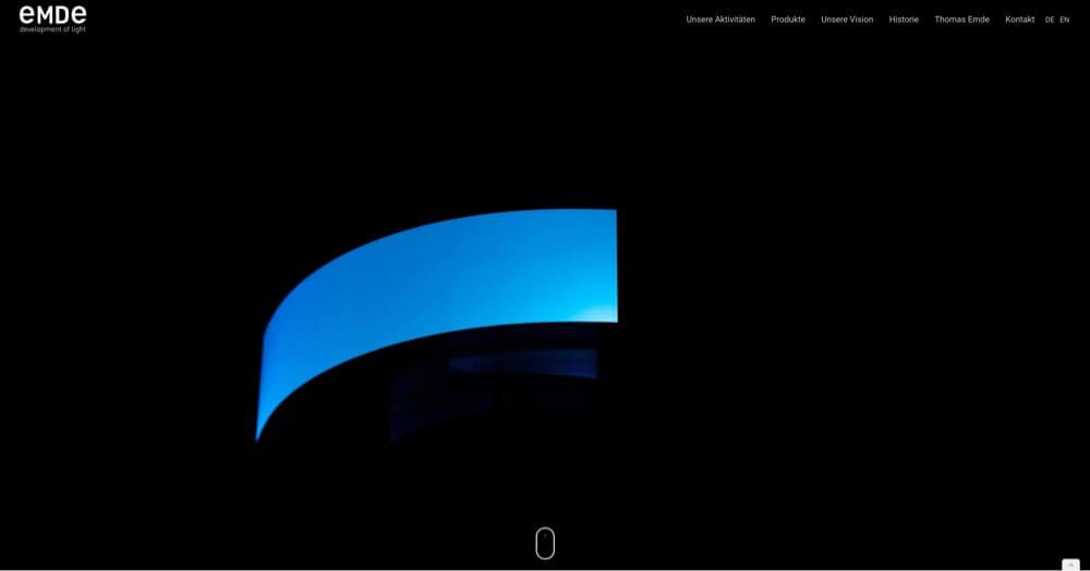 Business Website for EMDE development of light, Image shows Website