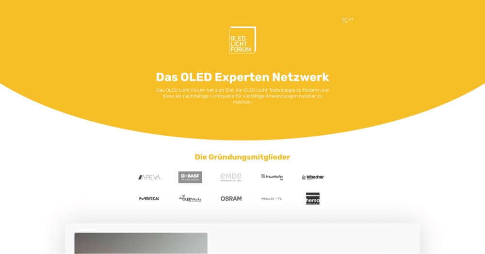 Website for the OLED Licht Forum, Image shows Website