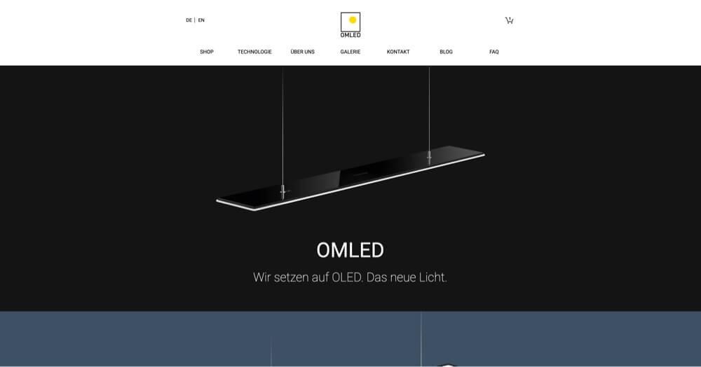 Website for OMLED, Online Shop, Image shows Website