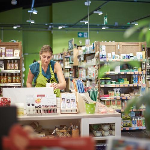 Agencement écologique dans un magasin bio