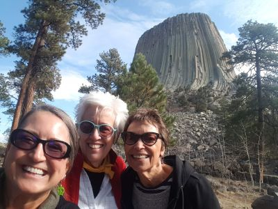 Shannon Smith and others in front of Devil's Tower in Wyoming