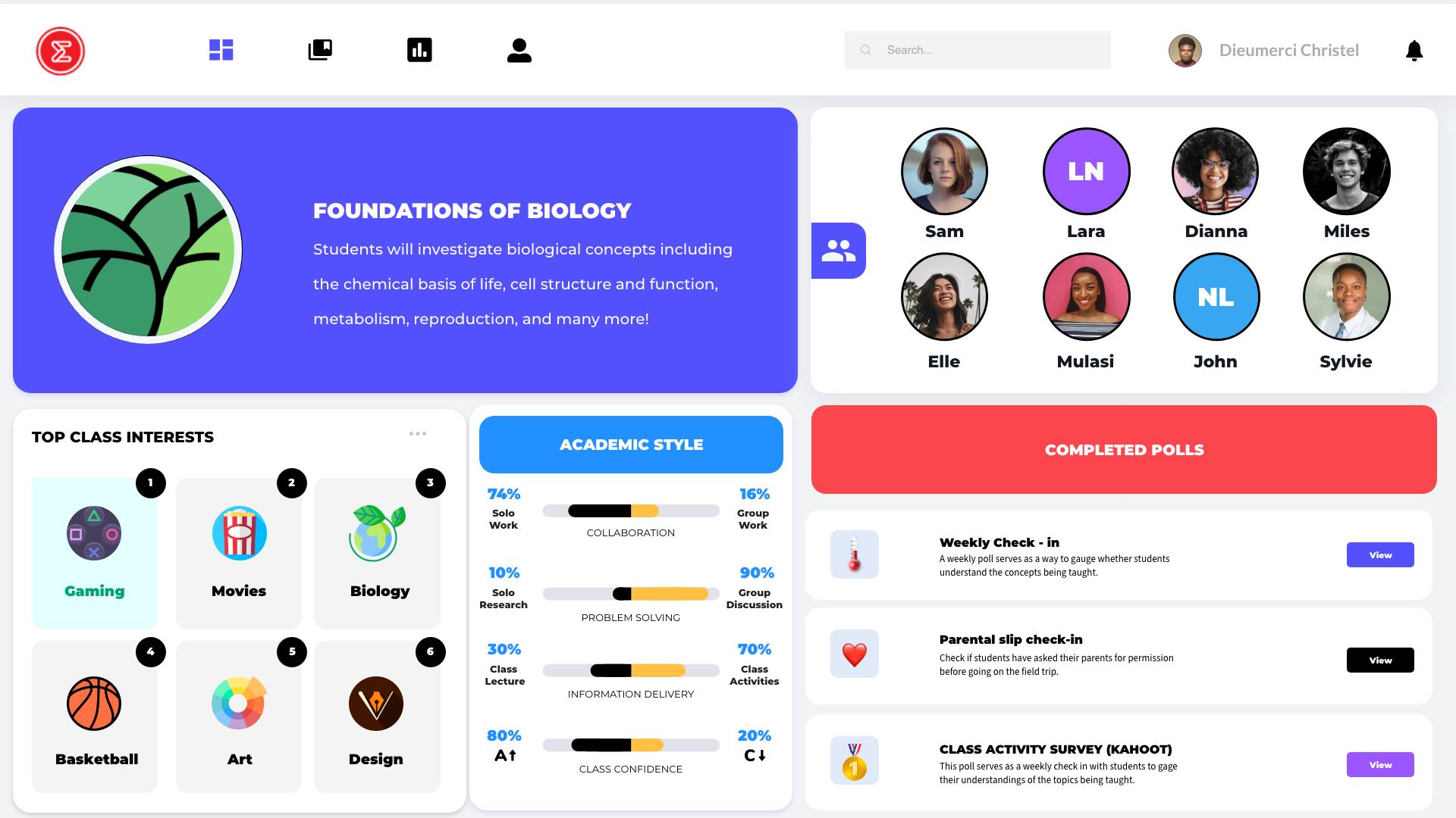 A screenshot of the class profile