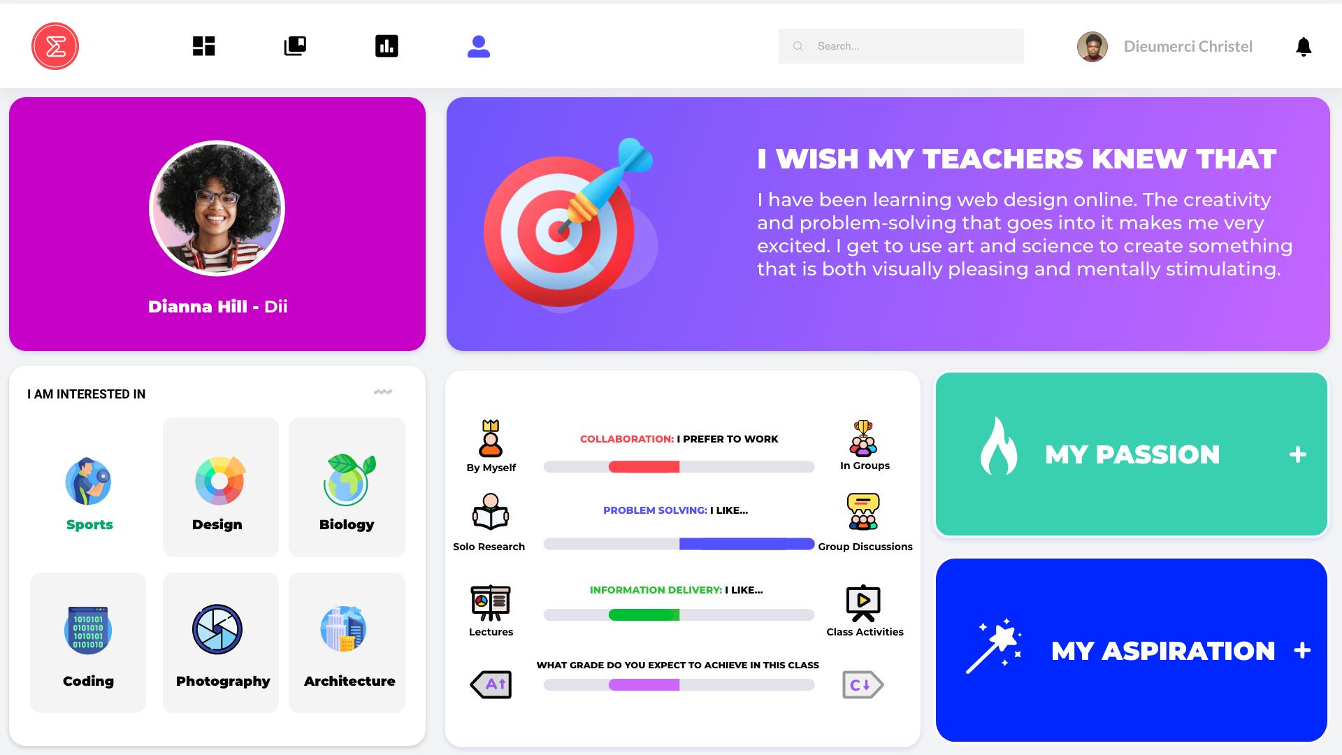 A screenshot of a student built profile