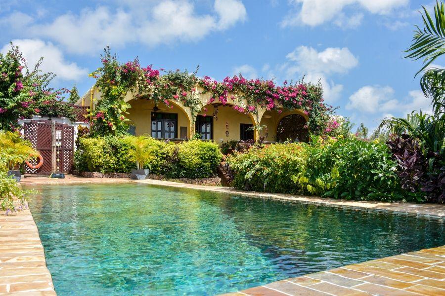 Zanzibar Private Pool Villa elegant establishment with garden and a view of the ocean