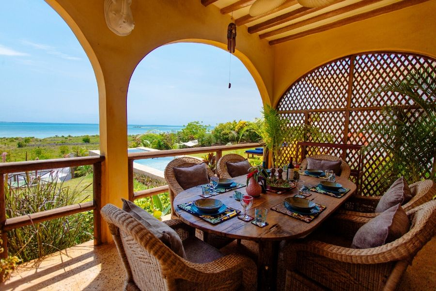 Zanzibar Private Pool Villa dining area with ocean view for the family