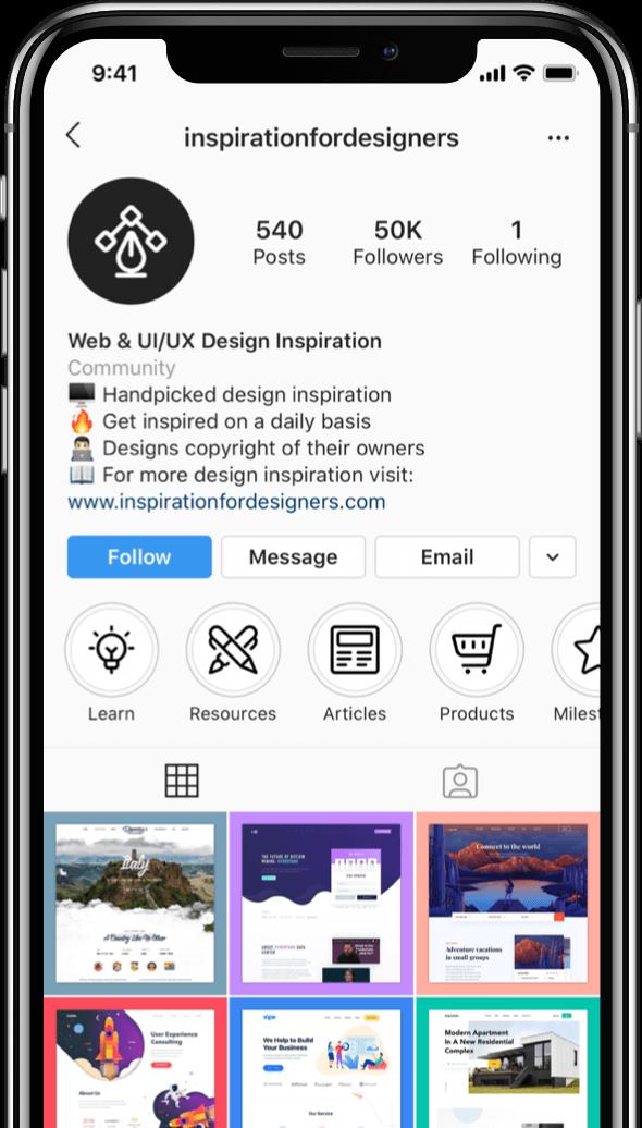 Instagram profile screenshots on an iPhone