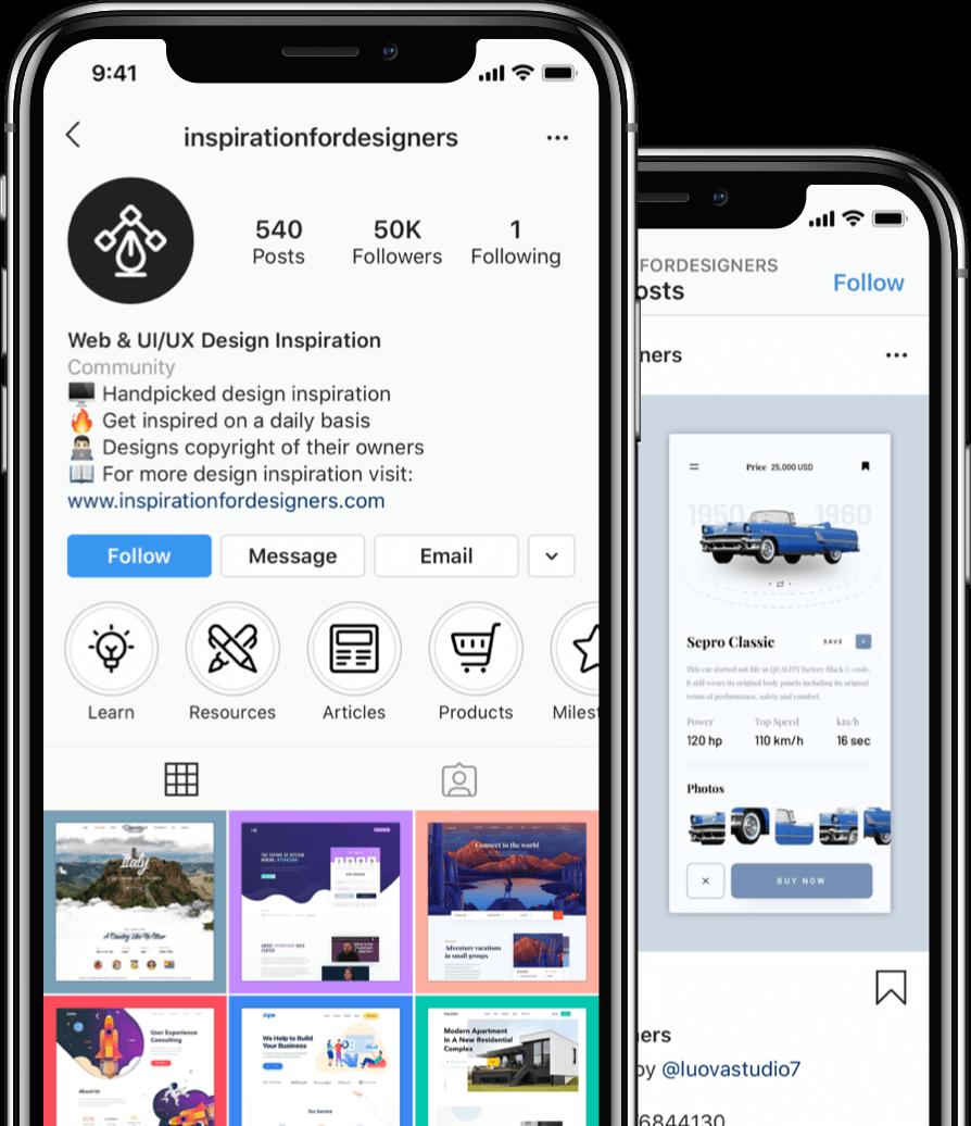 Instagram screenshots on two iPhones