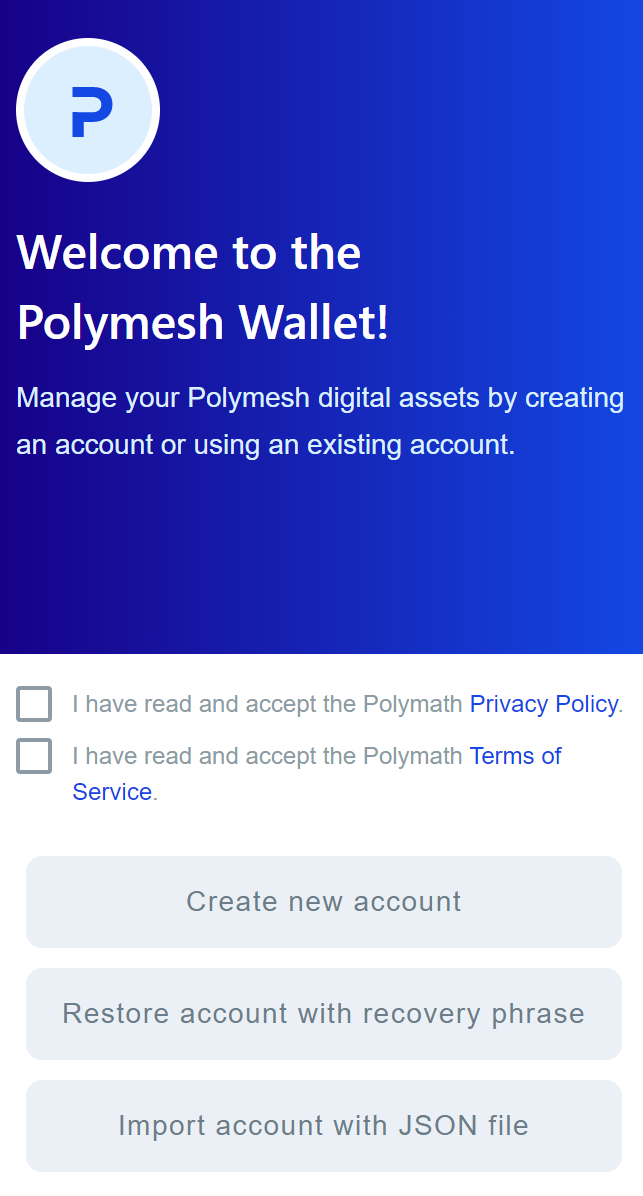 welcome to the polymesh wallet UI