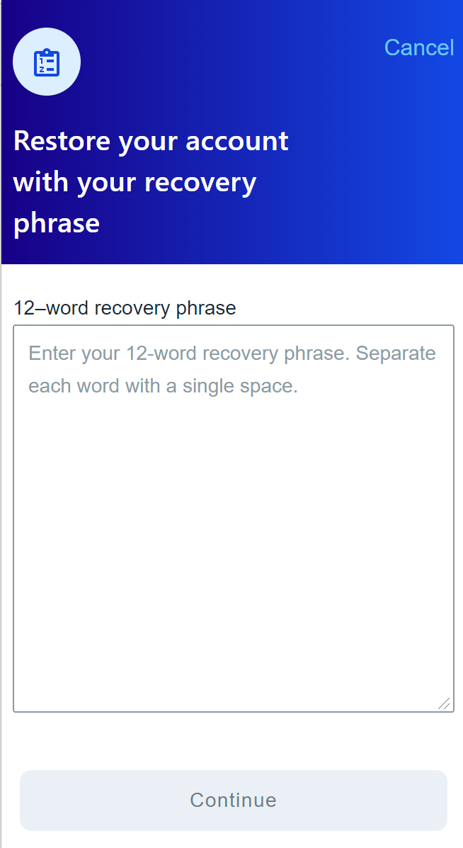 restoring your account with your recovery phase UI