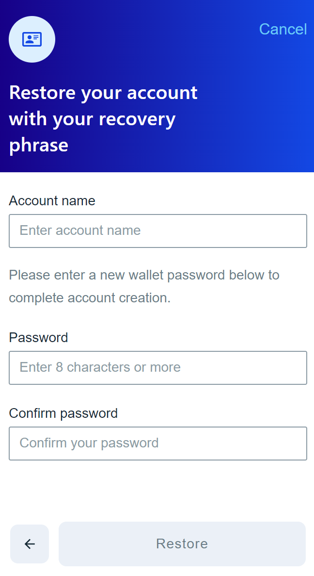 create an account and set password