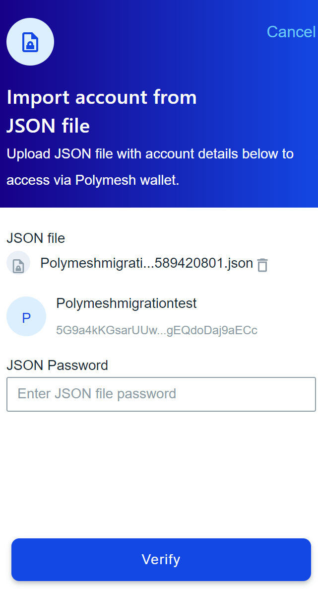 select the JSON file