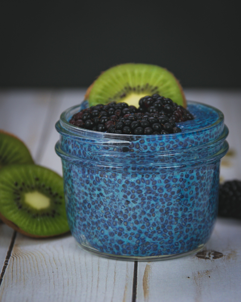 Chia Seed Pudding with Blue Spirulina