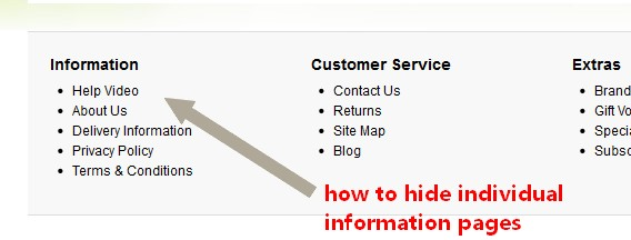 opencart footer hide information pages