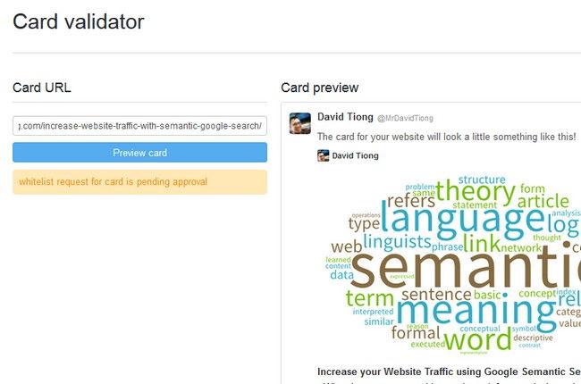 Pending card for Twitter