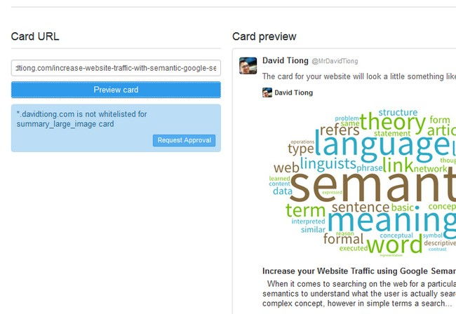 Request approval Twitter Summary Card