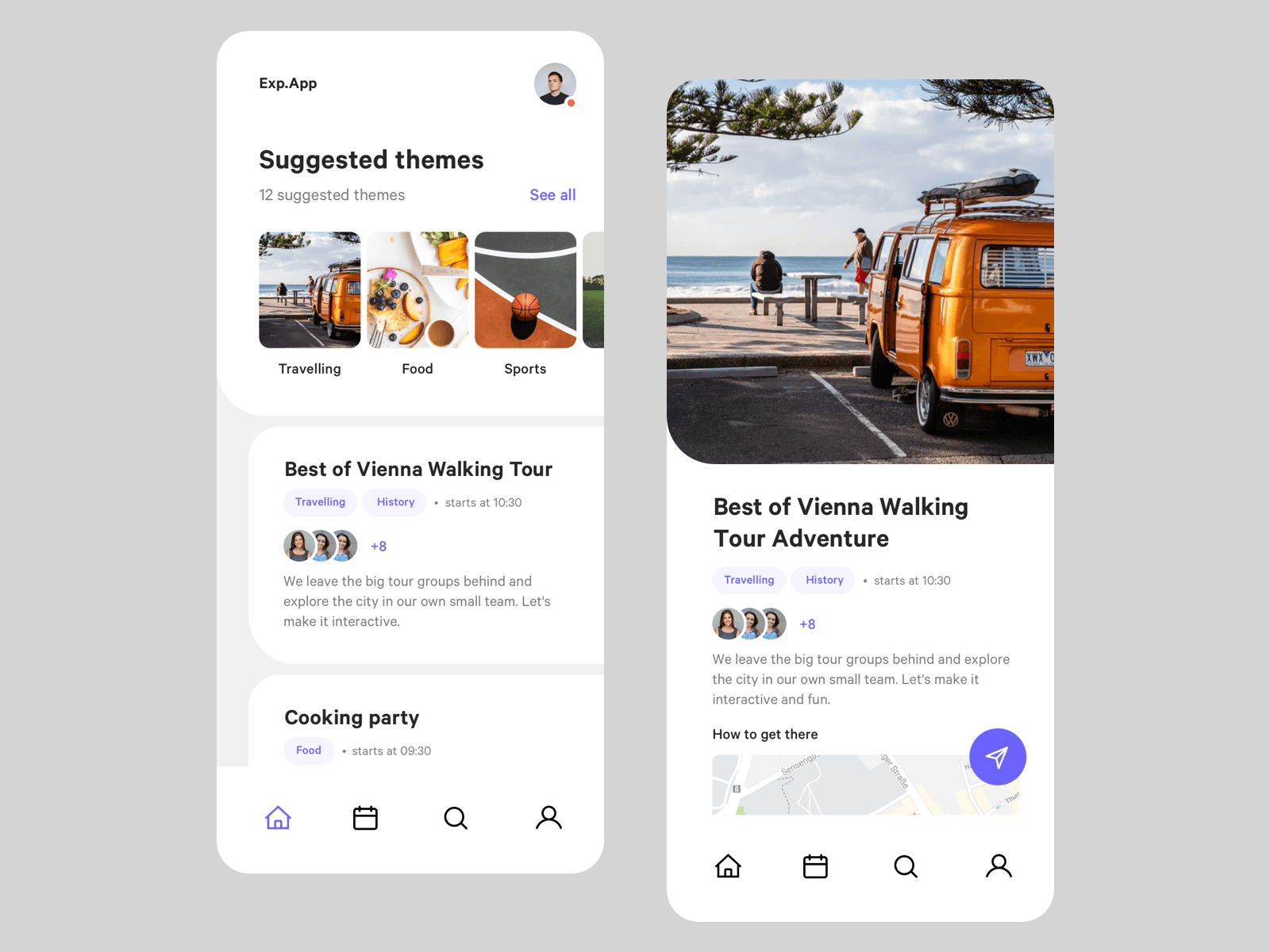 Design for an events app on iPhone