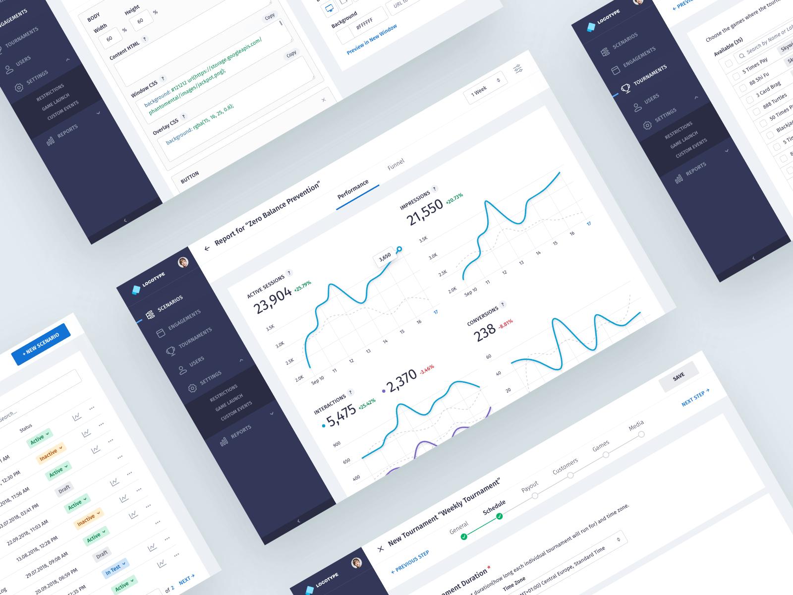 Design for a player engagement platform dashboard