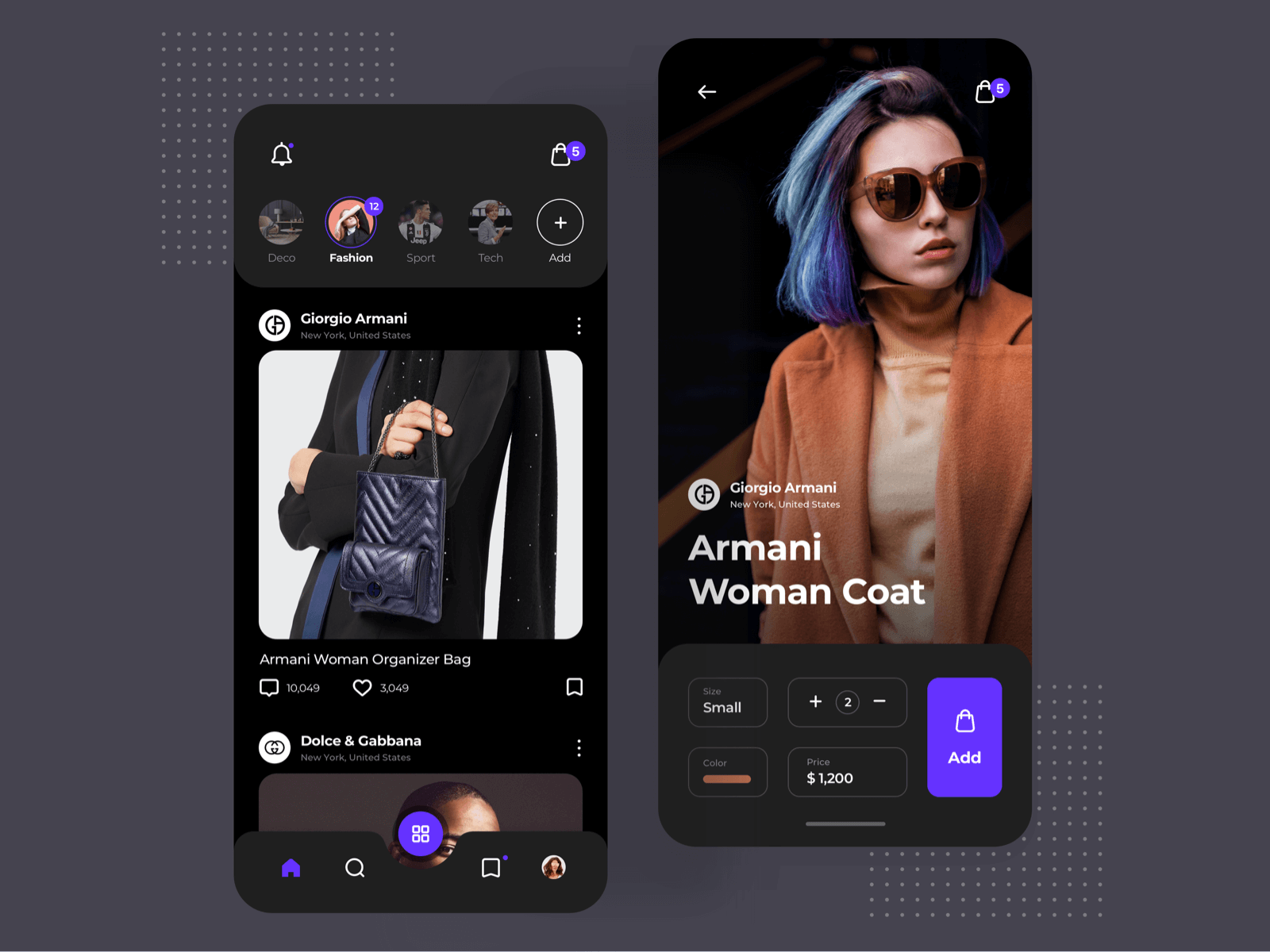 App design for a fashion app on iPhone