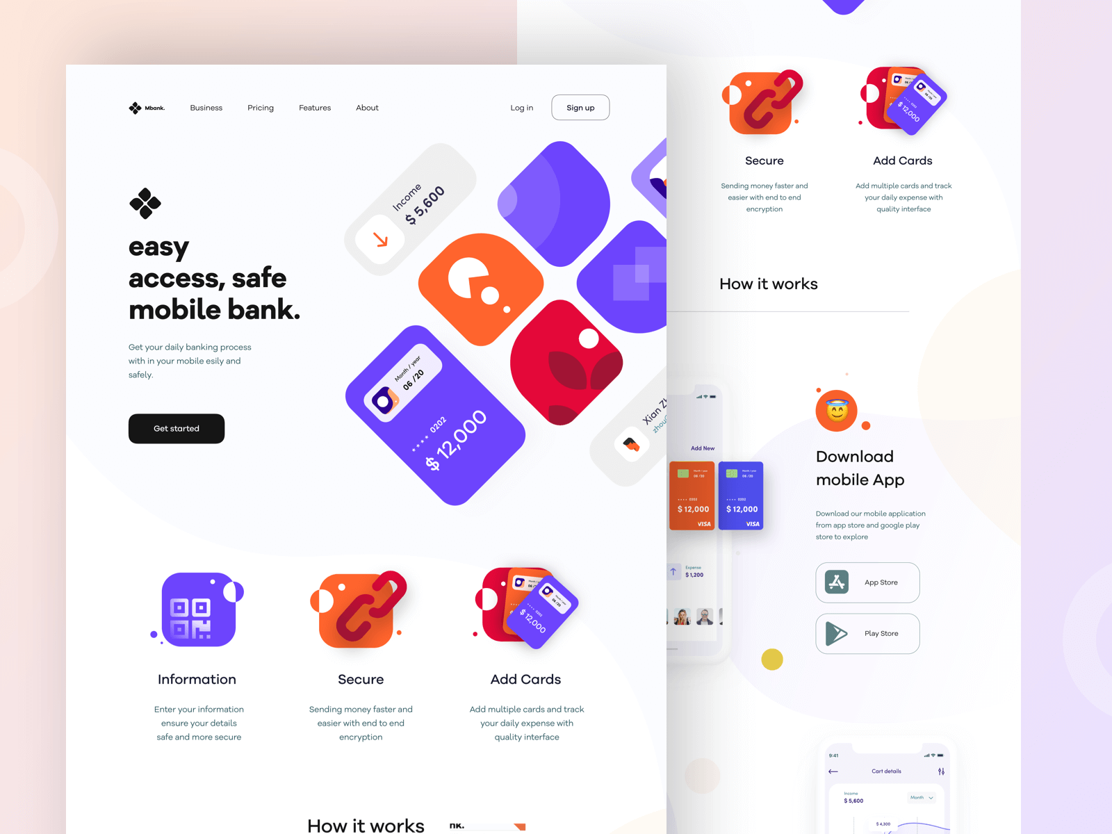 Design of a landing page for a bank website