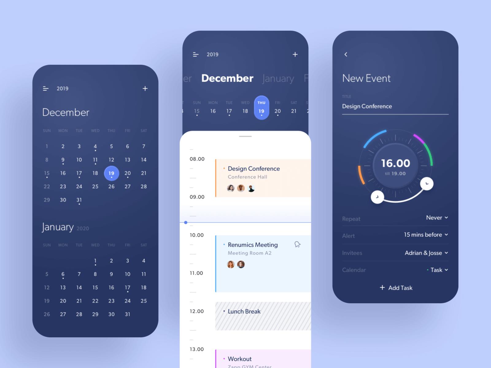 Design for a calendar app for iPhone