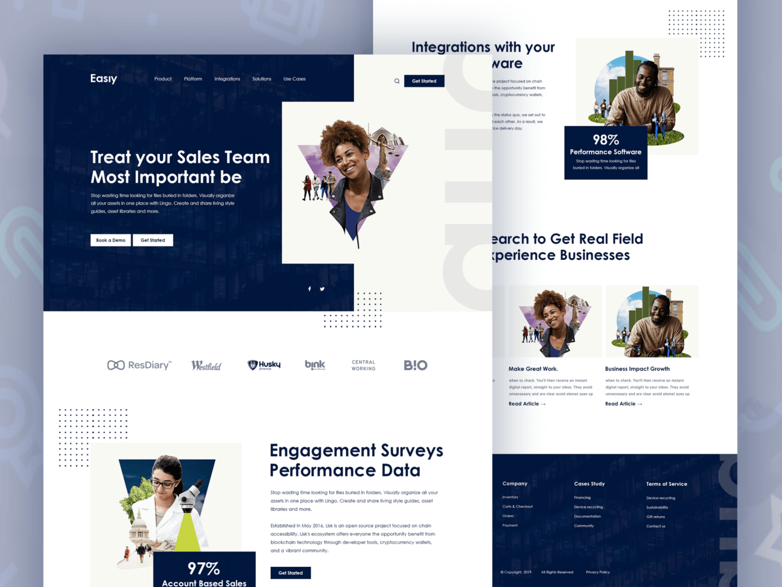Landing page design for Easiy