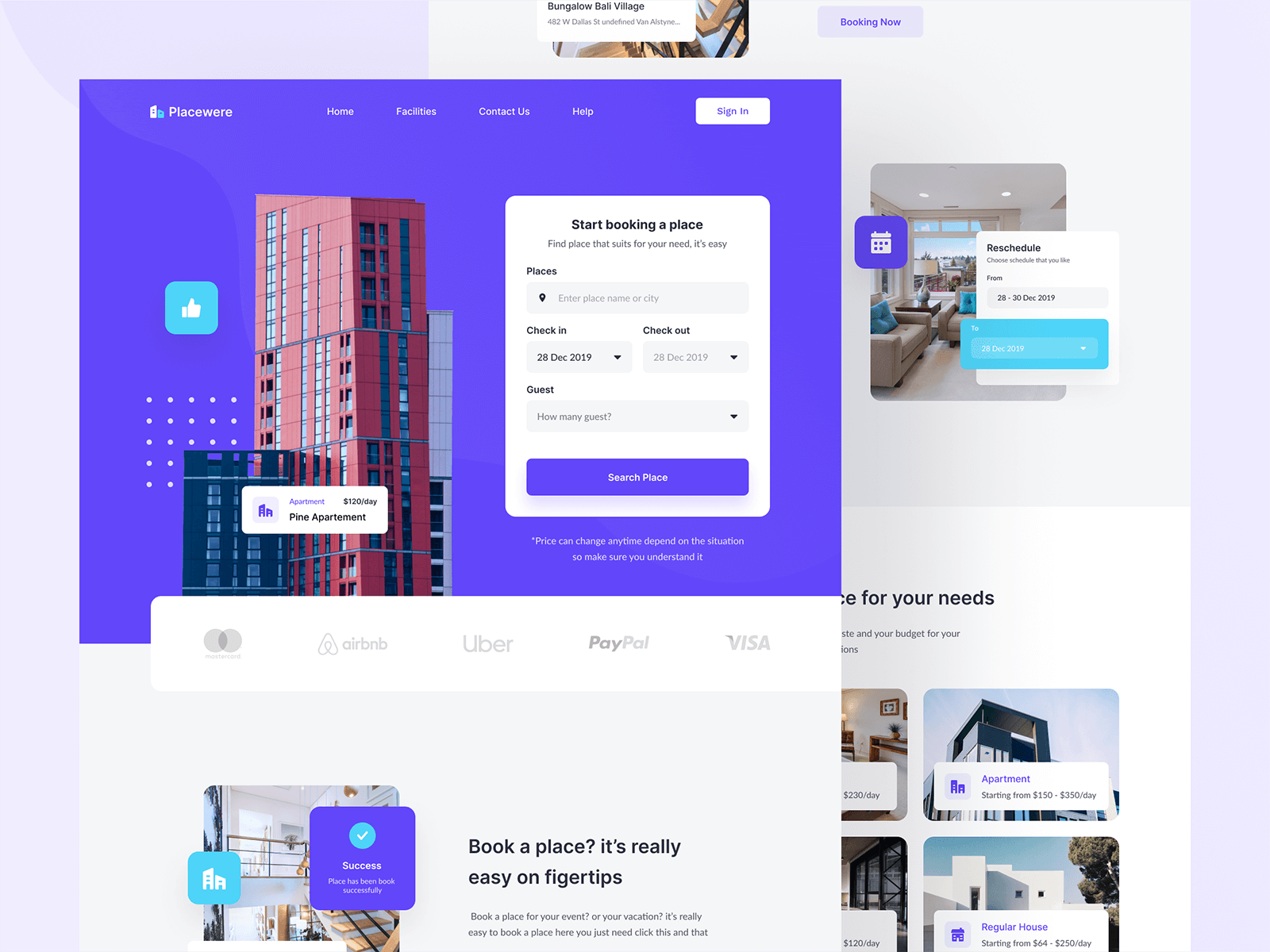 Homepage design for a booking website
