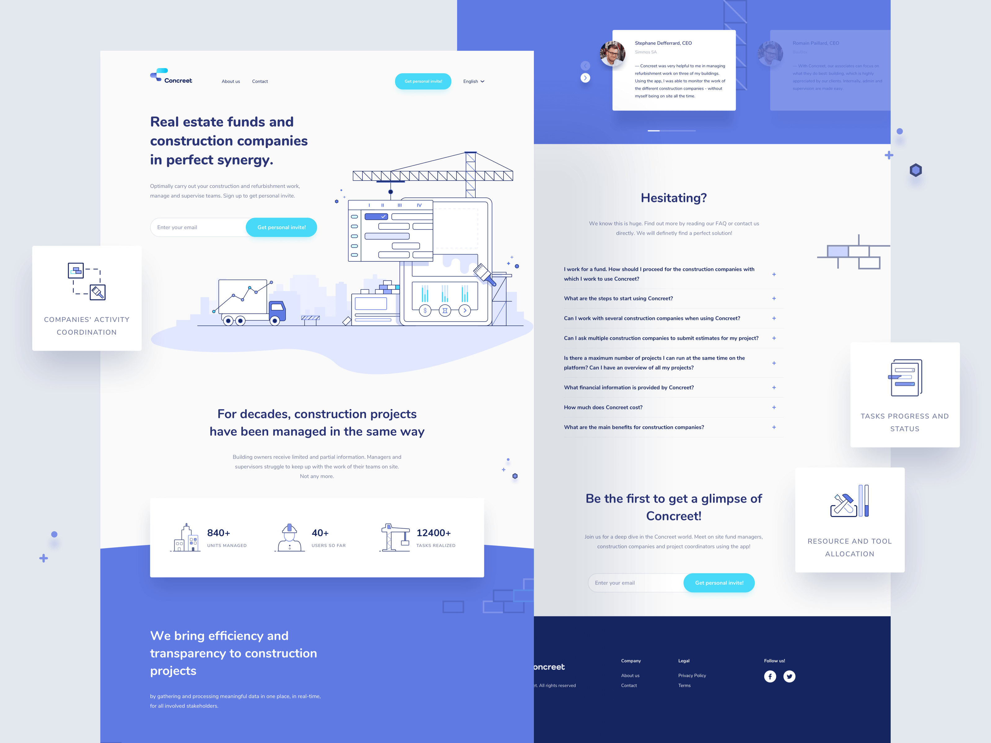 Landing page design for Concreet