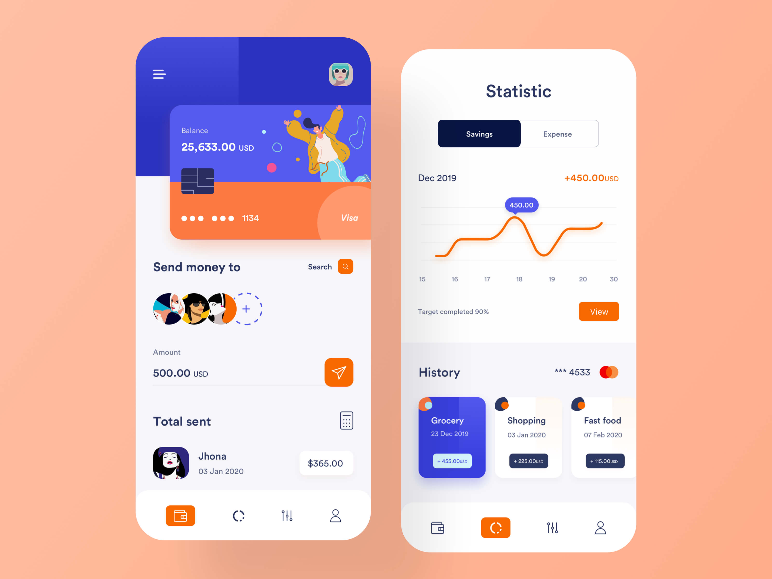 App design for a banking app on iPhone