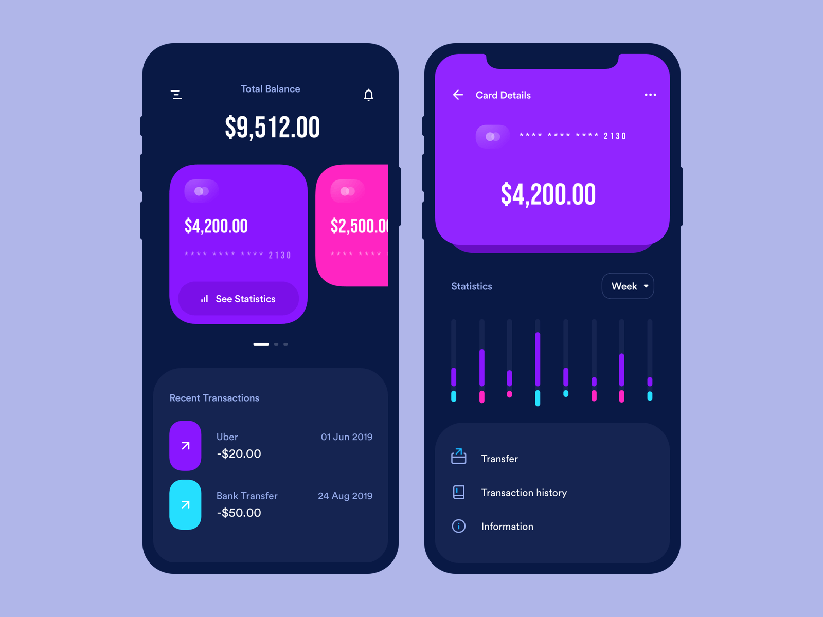 App design for a banking and finance app