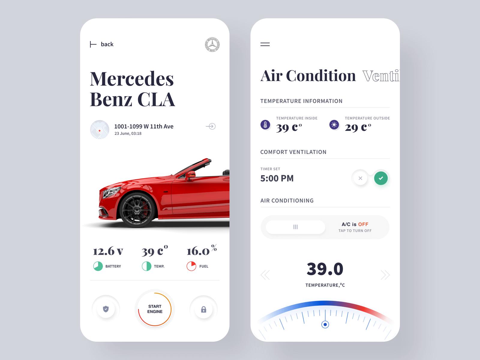 App design for Mercedes Benz