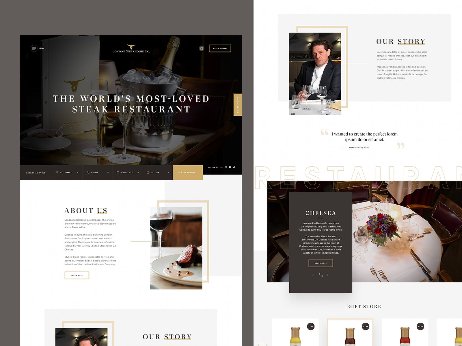 Concept design for a restaurant homepage