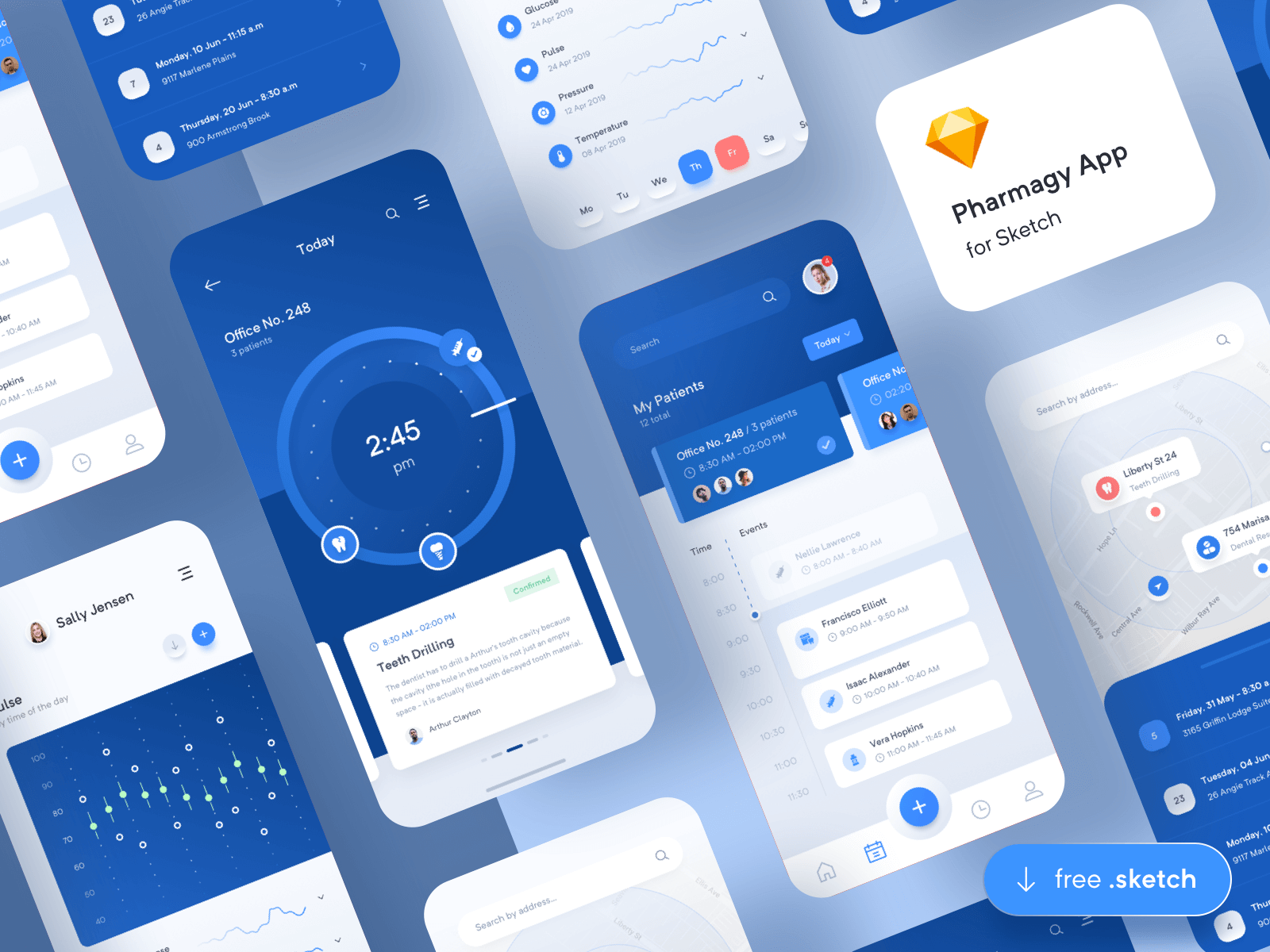 iPhone screen mockups for a medical app