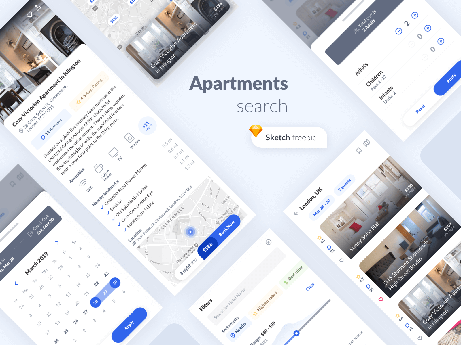 iPhone screens showcasing a UI Kit for apartments