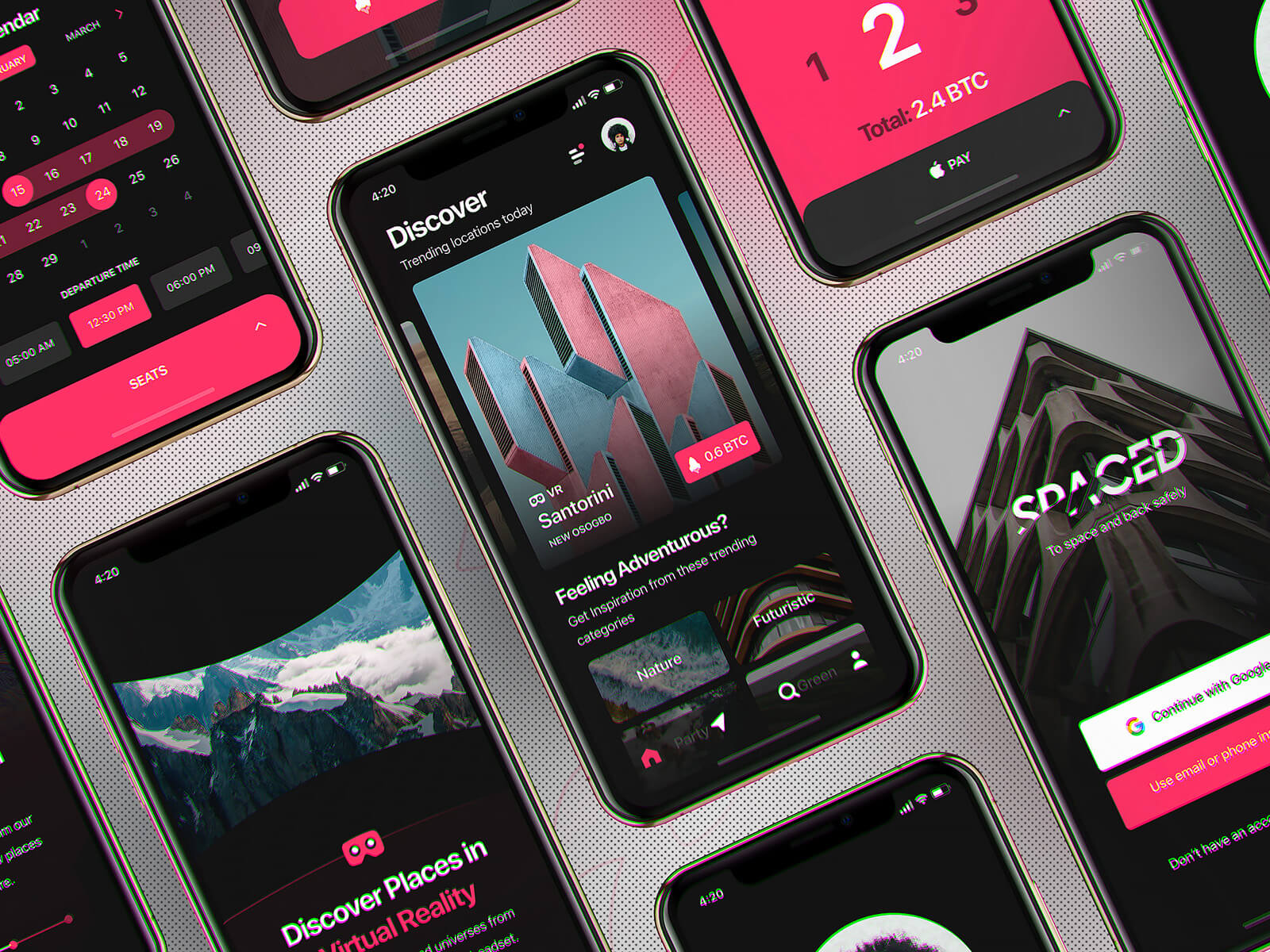 iPhone screens with an app mockup
