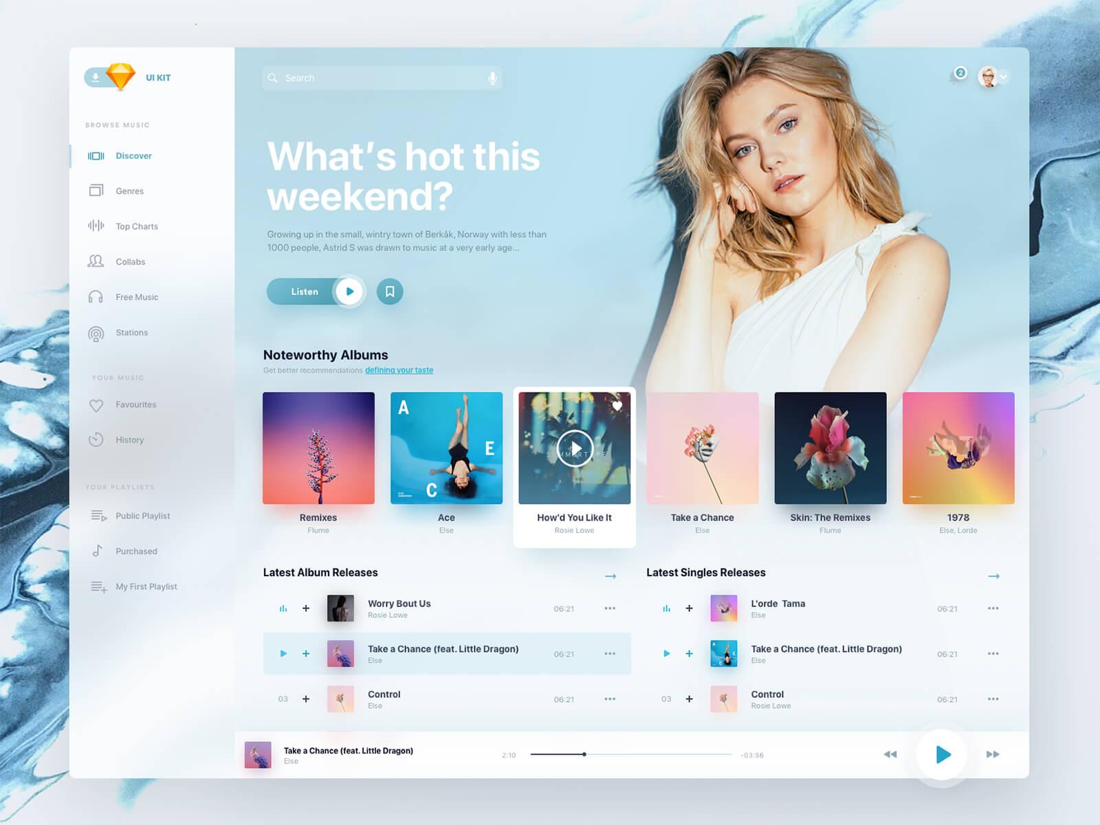 Design for a music app on a desktop