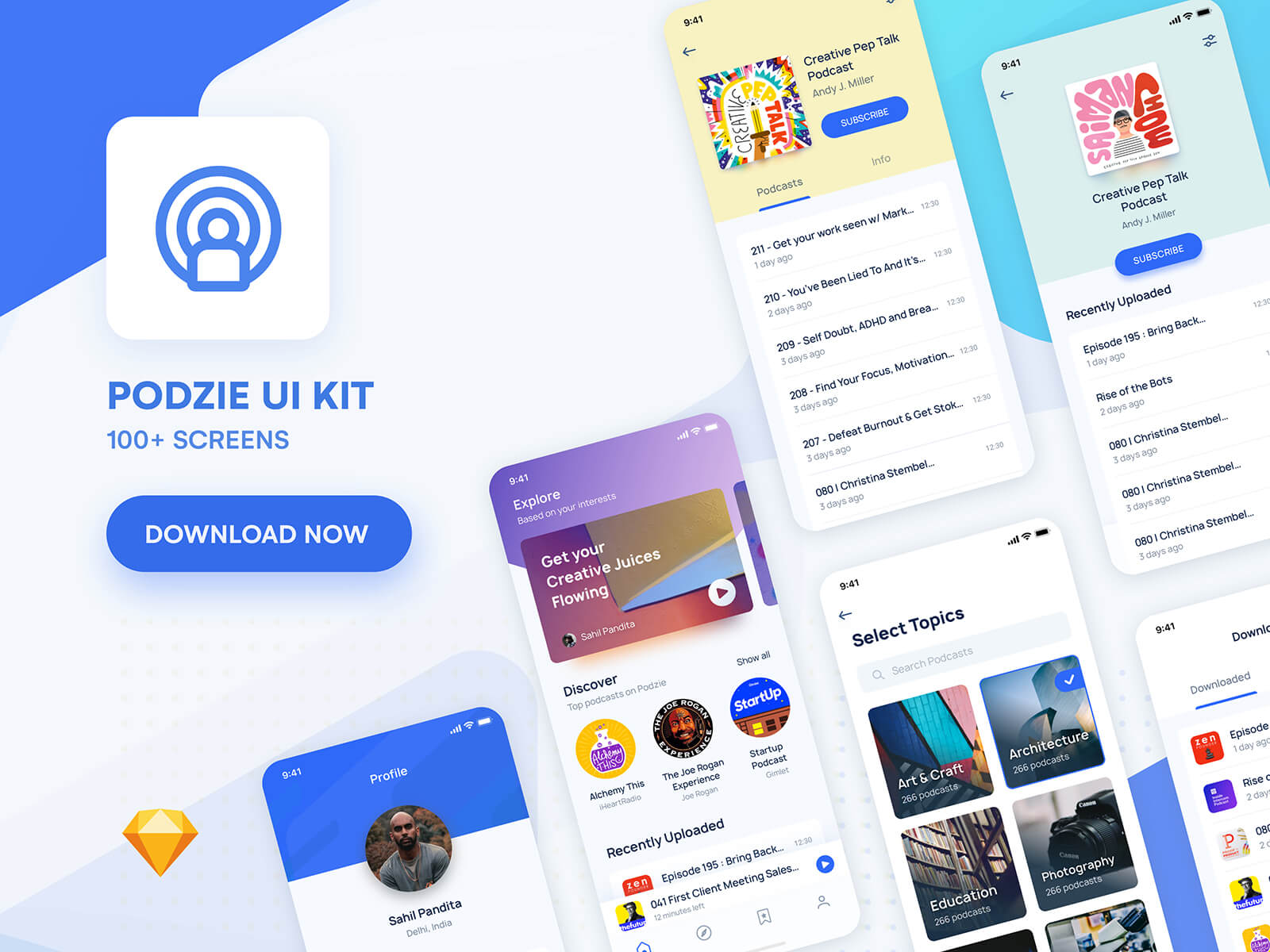 Creative layout of iPhone app screens on a colourful background