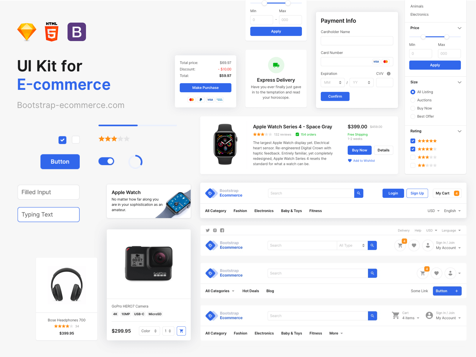 Assortment of different user interface elements