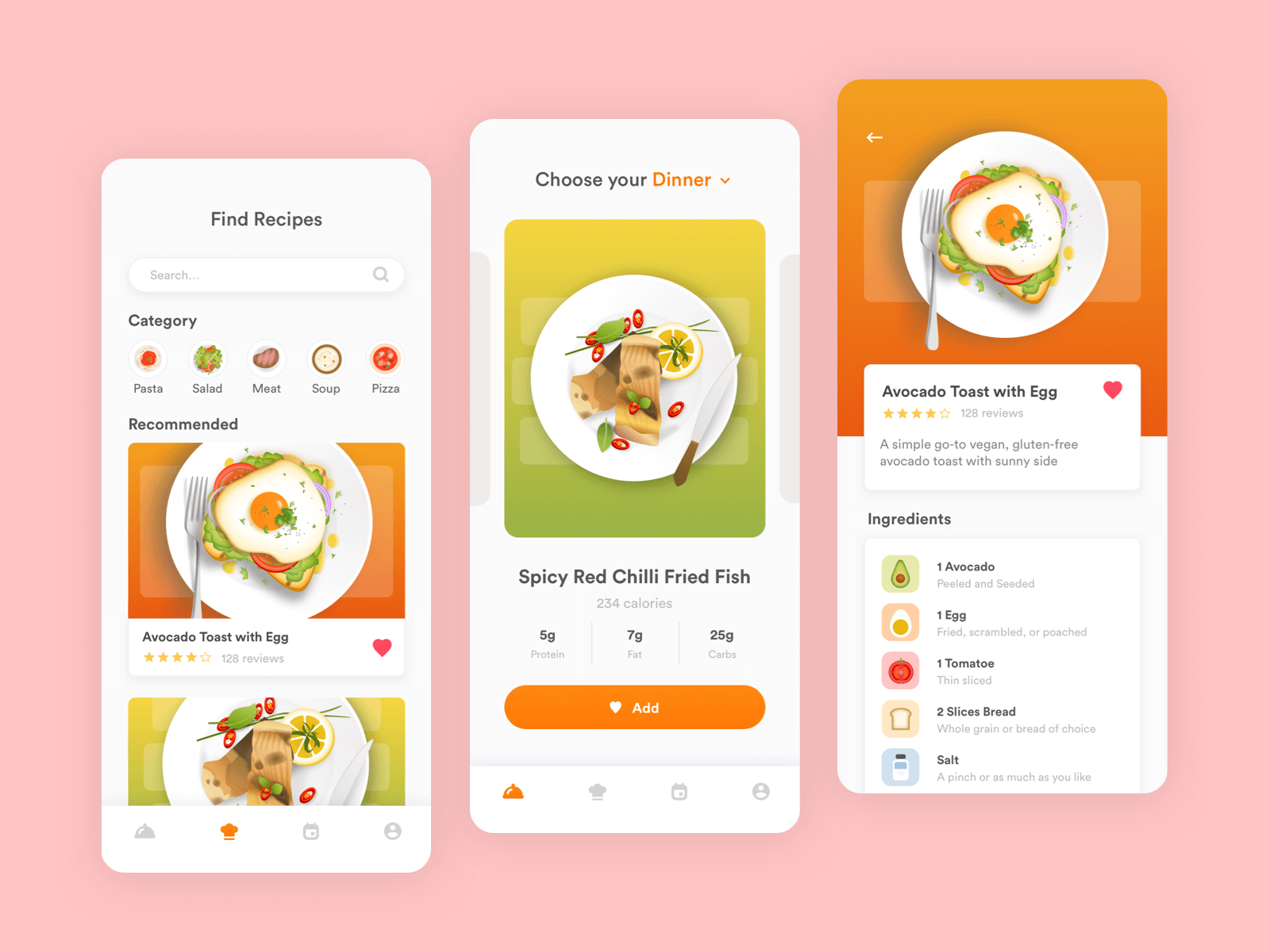 Three different screens of a food app with custom illustrations