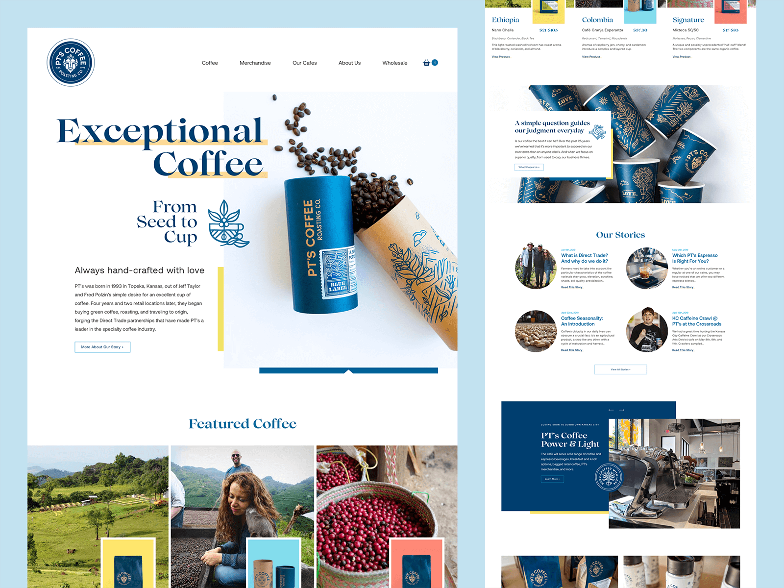 Website homepage for a coffee company