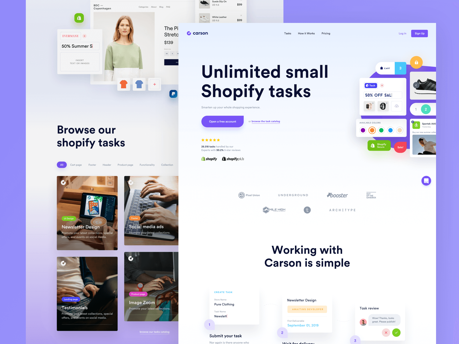 Website homepage for a company that helps Shopify merchants