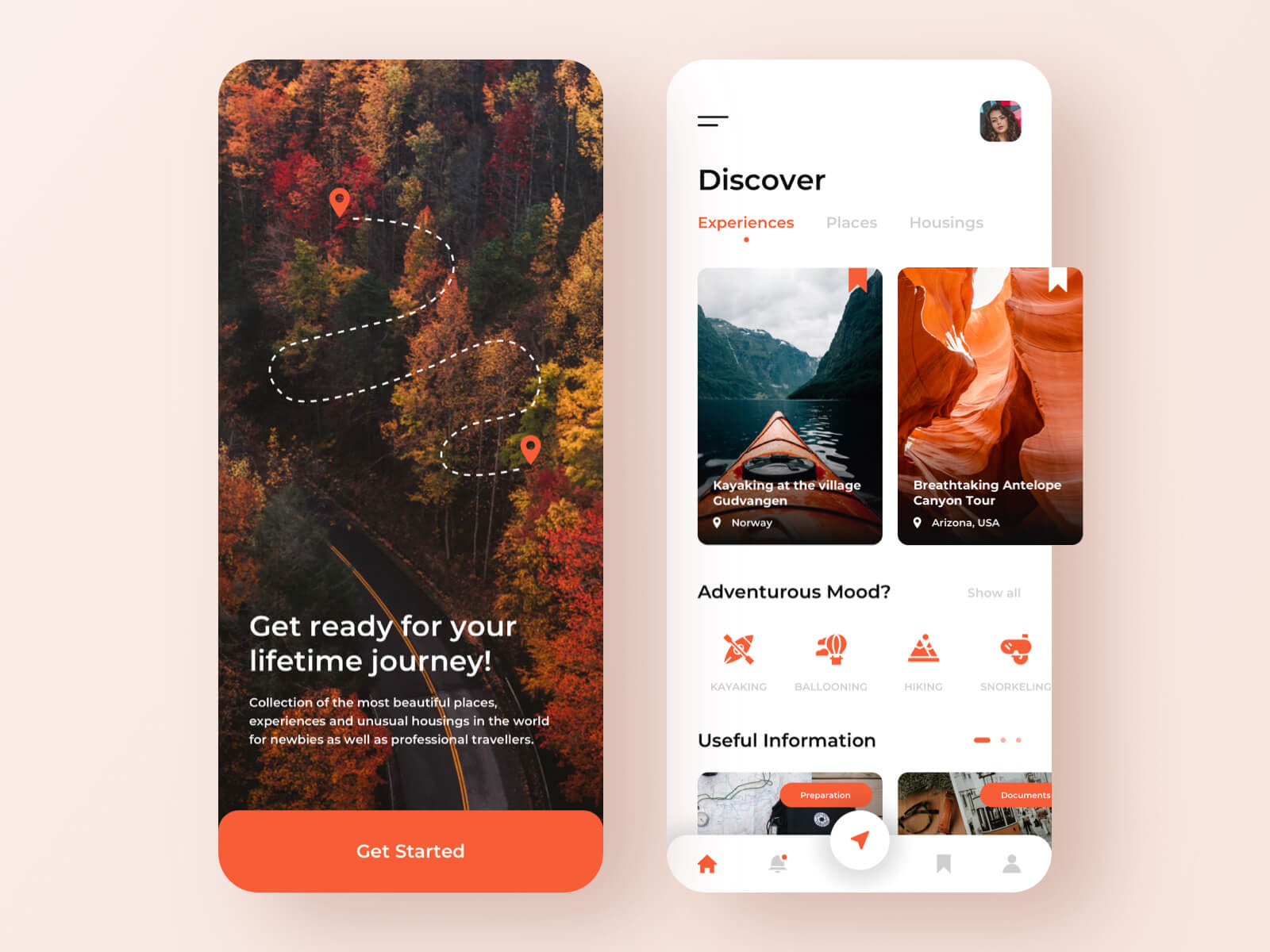 Login screen for a travel app concept
