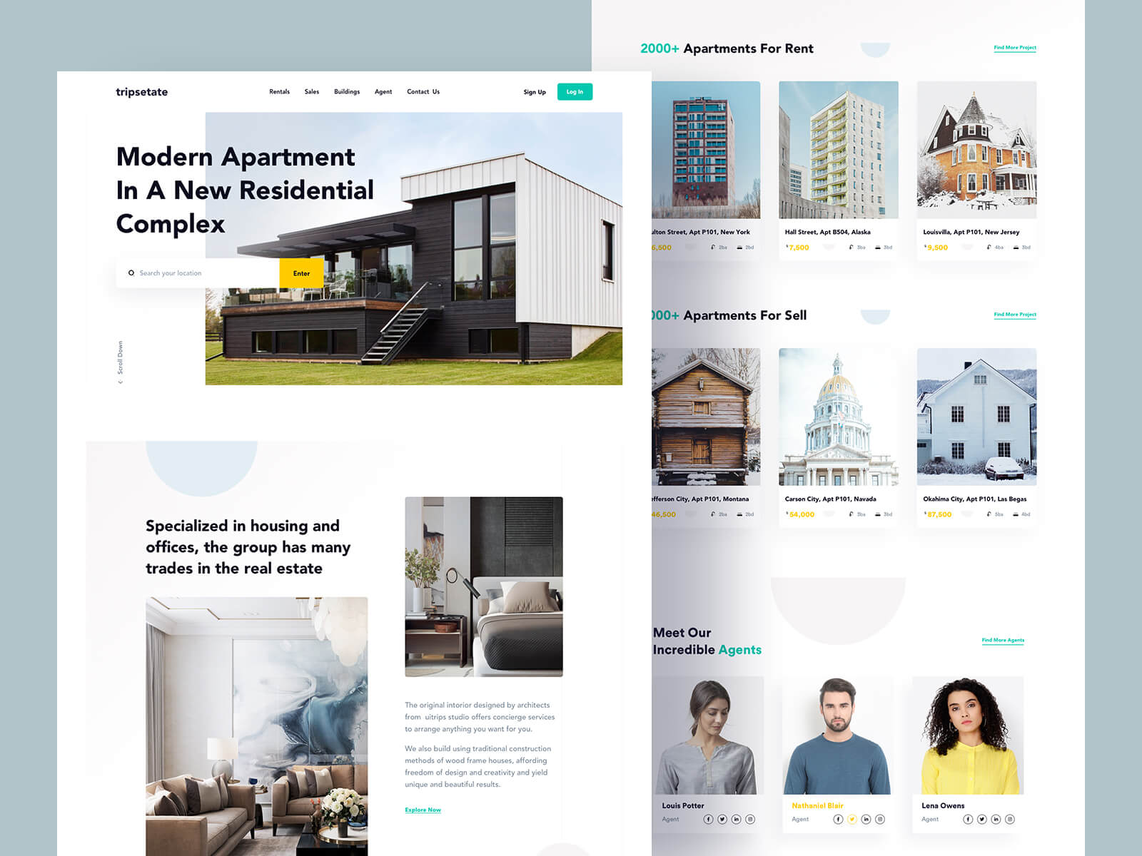 Website design for a real estate landing page for residential complex
