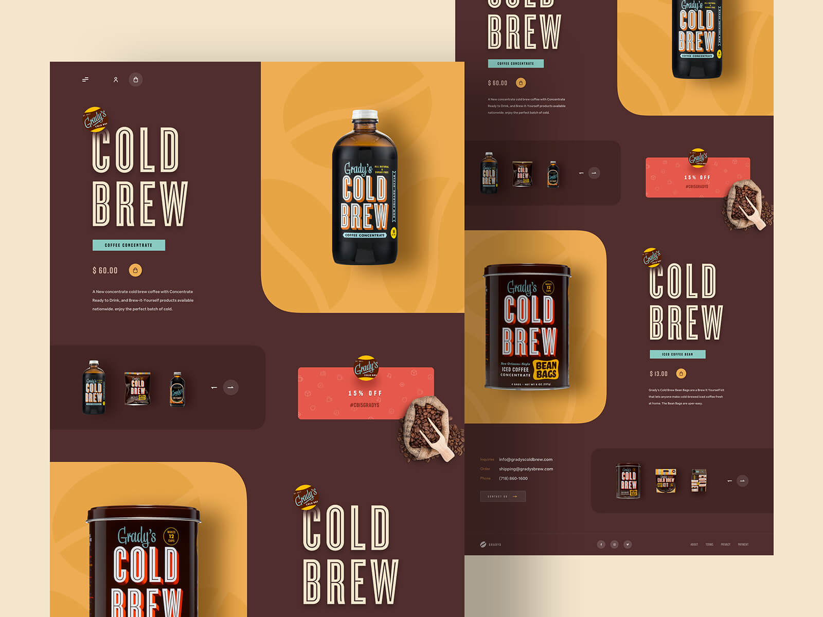 Homepage design for a company that sells cold brew coffee