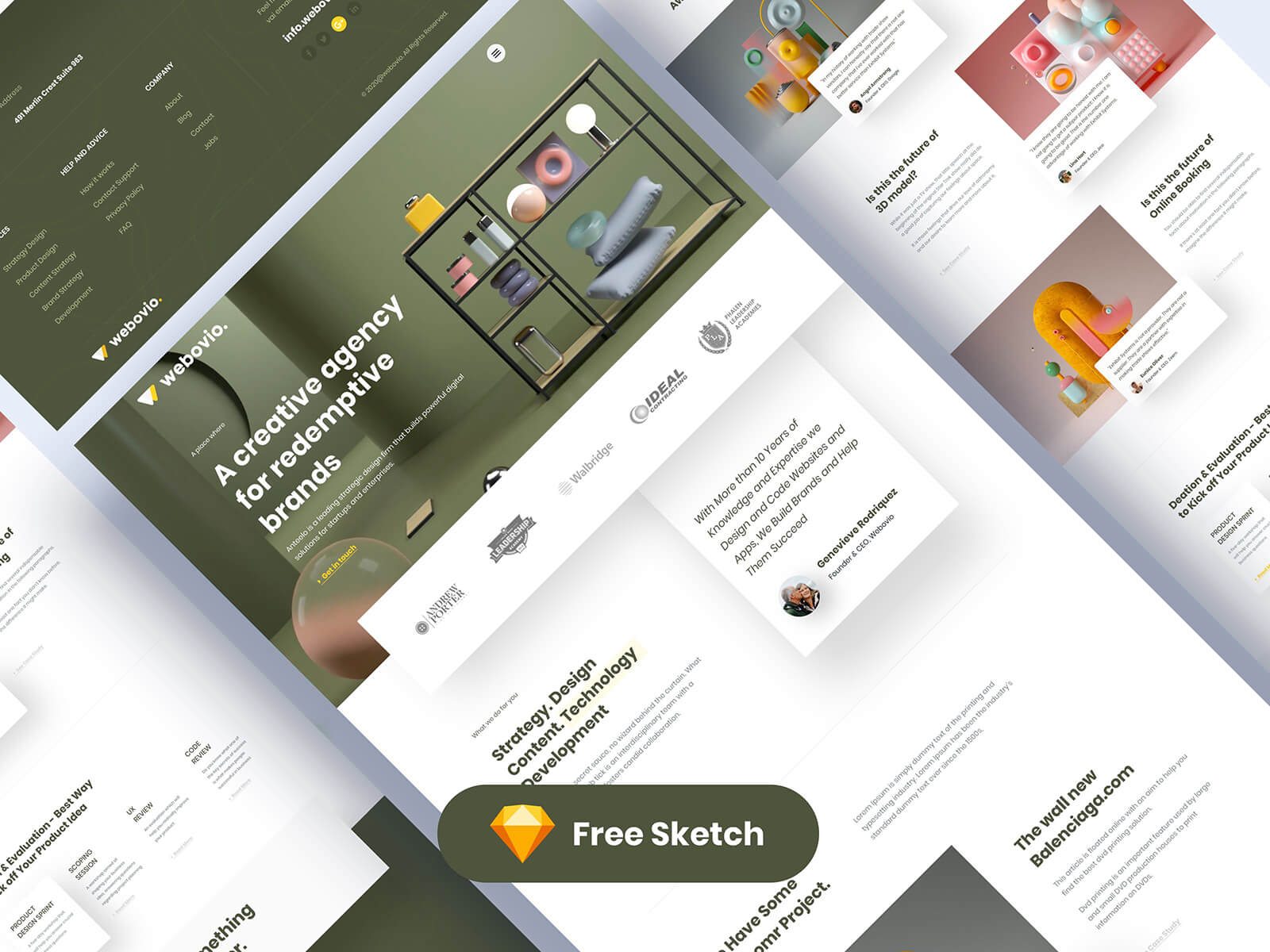 Landing page design for a creative agency website