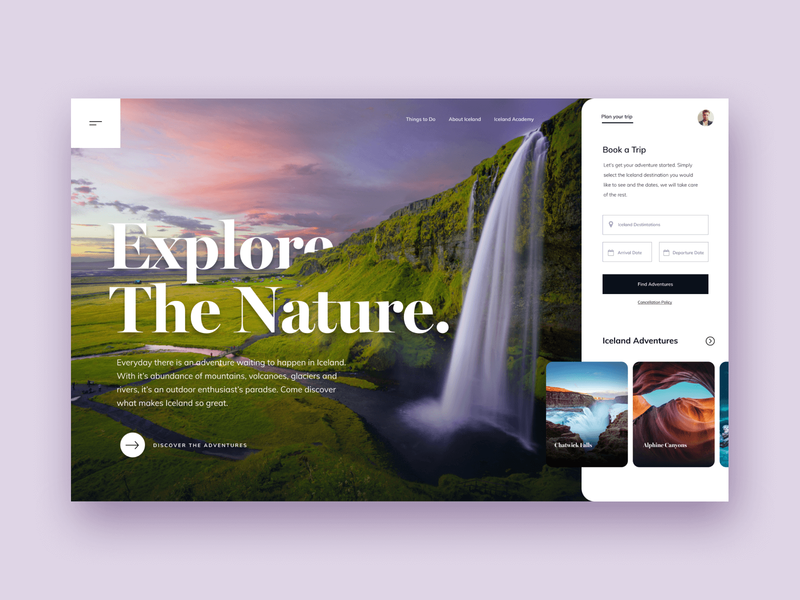 Landing page that has an image of a waterfall as the hero image
