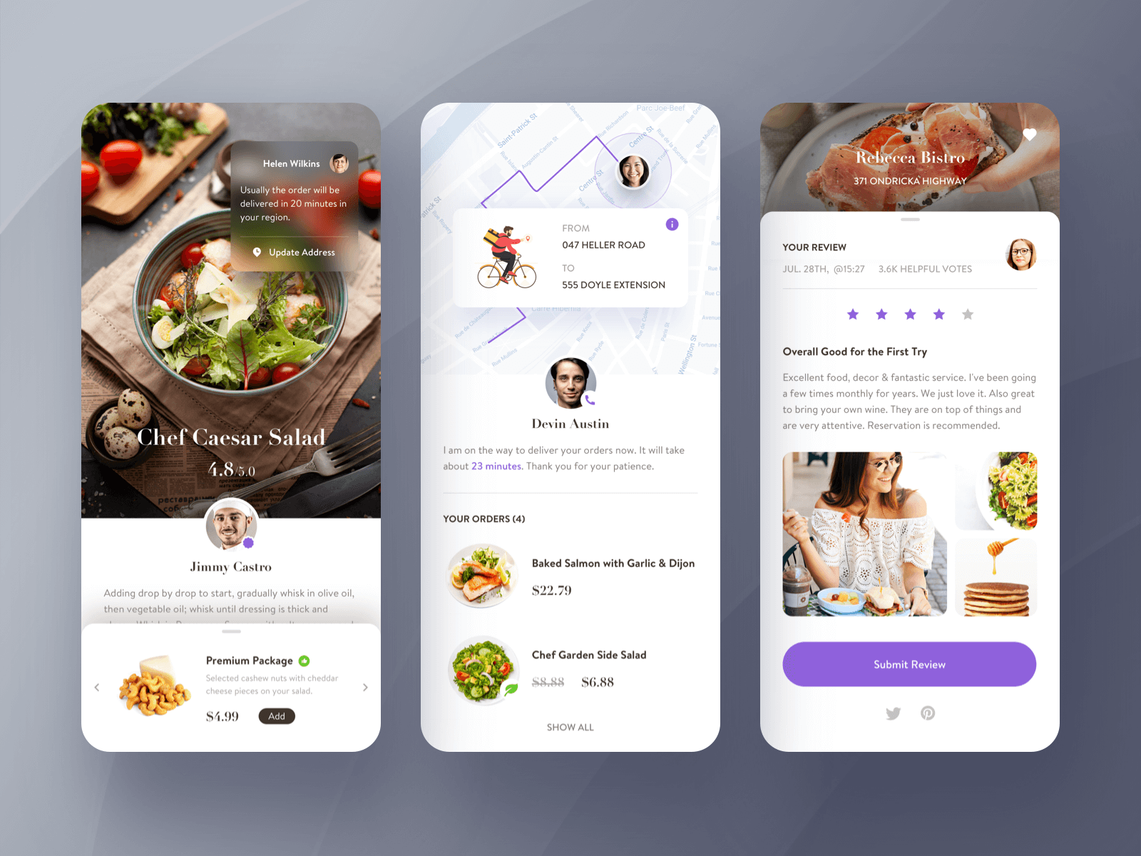 Three screens of a food order app showing the user process