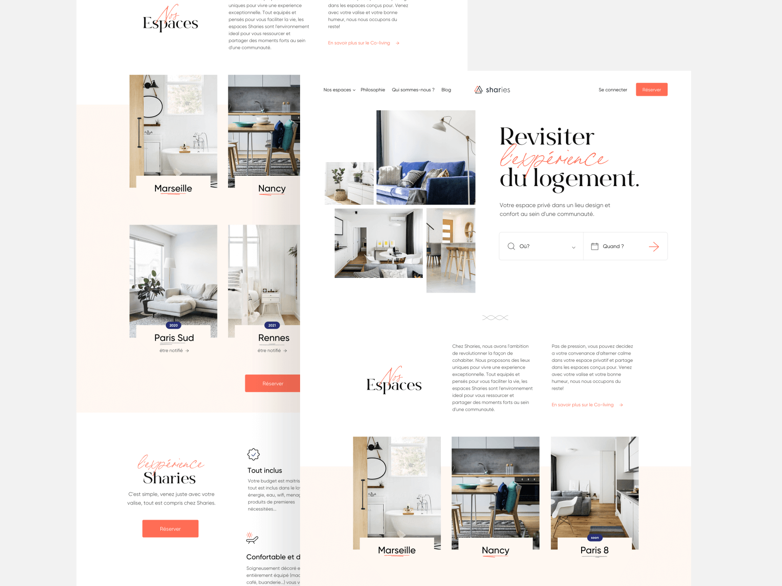 Landing page design for a sharing space company
