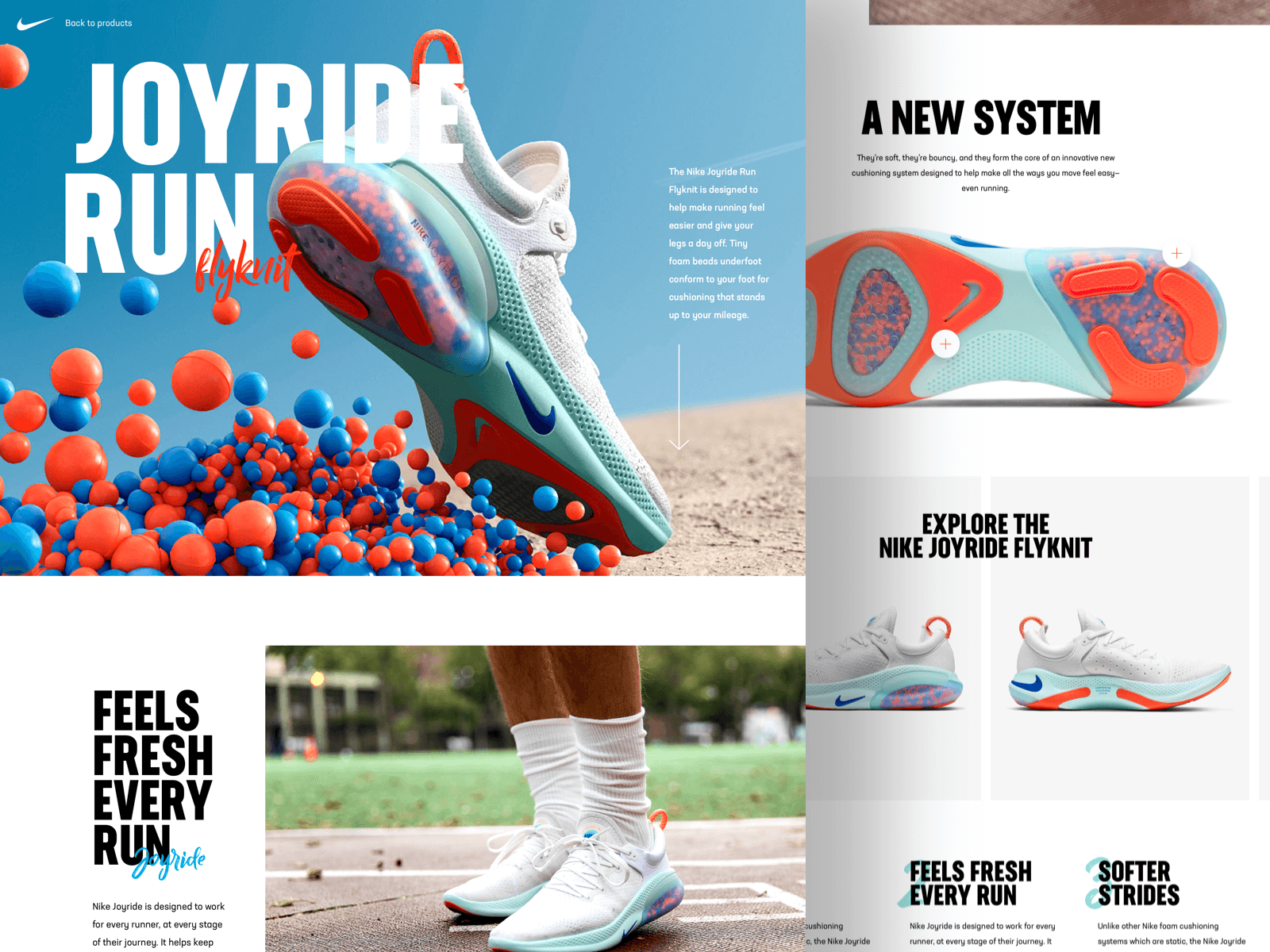 Concept website for the Nike Joyride Run shoes