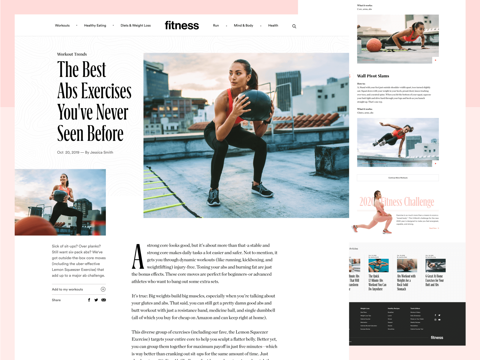 Article design for a page on fitnessmagazine.com